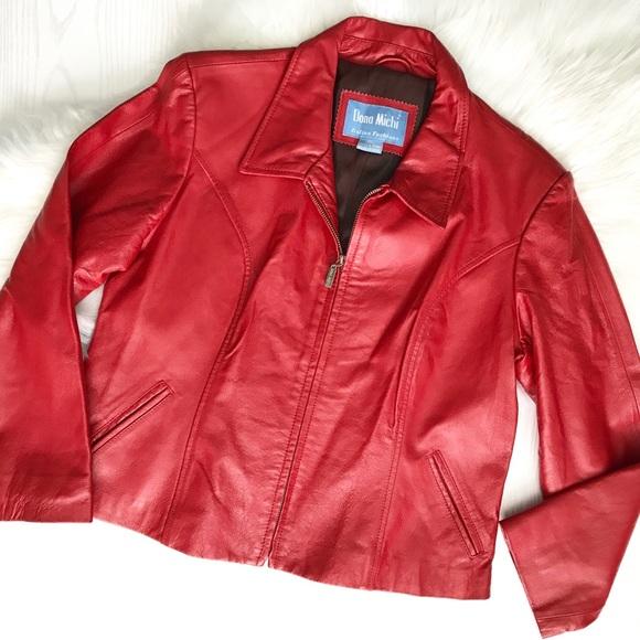 Dona Michi Jackets & Blazers - Dona Michi Red Genuine Leather Zippered Jacket
